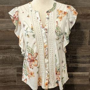 Anthropologie Maeve flower shirt sz medium